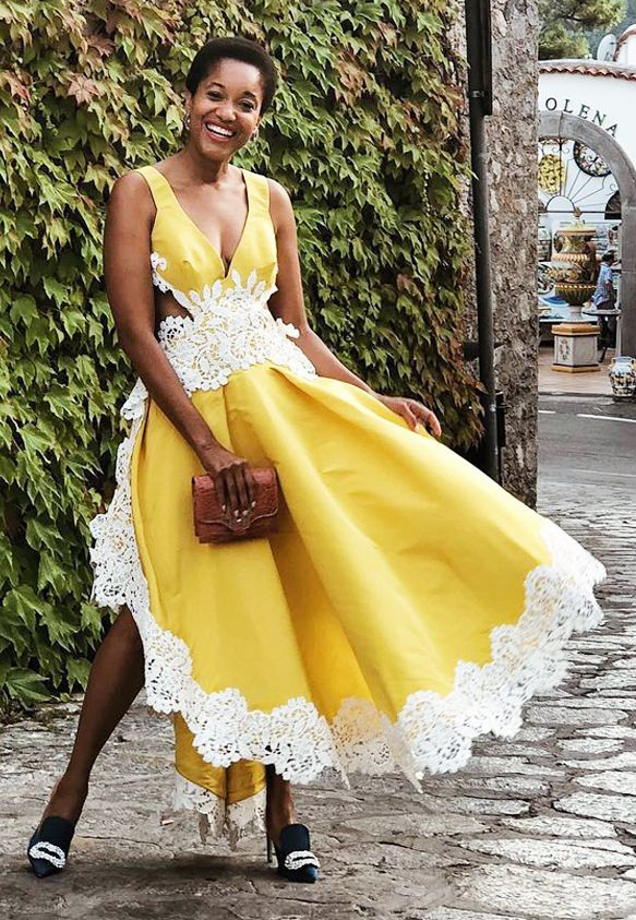 what-to-wear-for-a-summer-wedding-guest-outfit-yellow-dress-midi-black-shoe-pumps-dinner.jpg