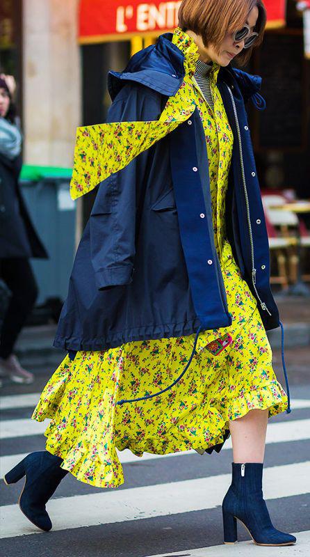 yellow-dress-midi-shirt-floral-print-blue-navy-jacket-coat-parka-brun-bob-blue-shoe-booties-fall-winter-lunch.jpg