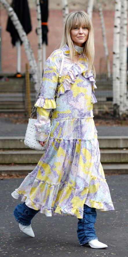yellow-dress-peasant-midi-purple-light-dress-layer-jeans-white-shoe-booties-white-bag-blonde-fall-winter-lunch.jpg