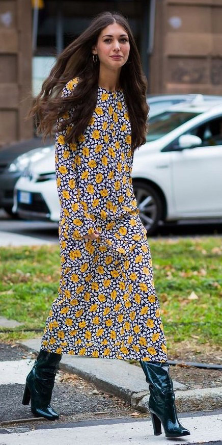 yellow-dress-midi-floral-print-brun-green-shoe-boots-patent-leather-hippie-fall-winter-lunch.jpg