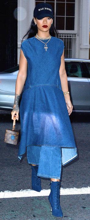 blue-med-dress-blue-shoe-booties-brown-bag-midi-choker-hat-cap-aline-spring-summer-chambray-rihanna-brunette-lunch.jpg