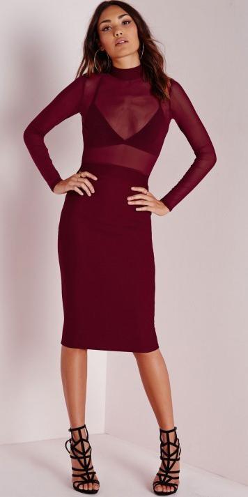 Burgundy bodycon dresses | HOWTOWEAR
