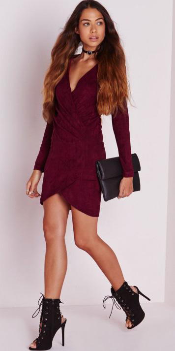 burgundy-dress-bodycon-wrap-choker-hairr-black-bag-clutch-black-shoe-booties-spring-summer-dinner.jpg