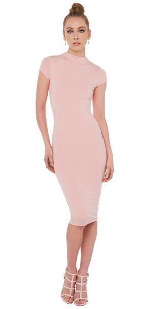 Pastel Pink Bodycon Dresses Howtowear Fashion,Open Back Short Sleeve Lace Wedding Dress