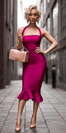 pink-magenta-dress-bodycon-peach-bag-peach-shoe-pumps-earrings-spring-summer-blonde-dinner.jpg