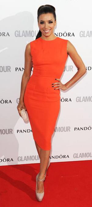 orange-dress-bodycon-pony-studs-tan-shoe-pumps-tan-bag-clutch-evalongoria-howtowear-fashion-style-outfit-spring-summer-brun-dinner.jpg