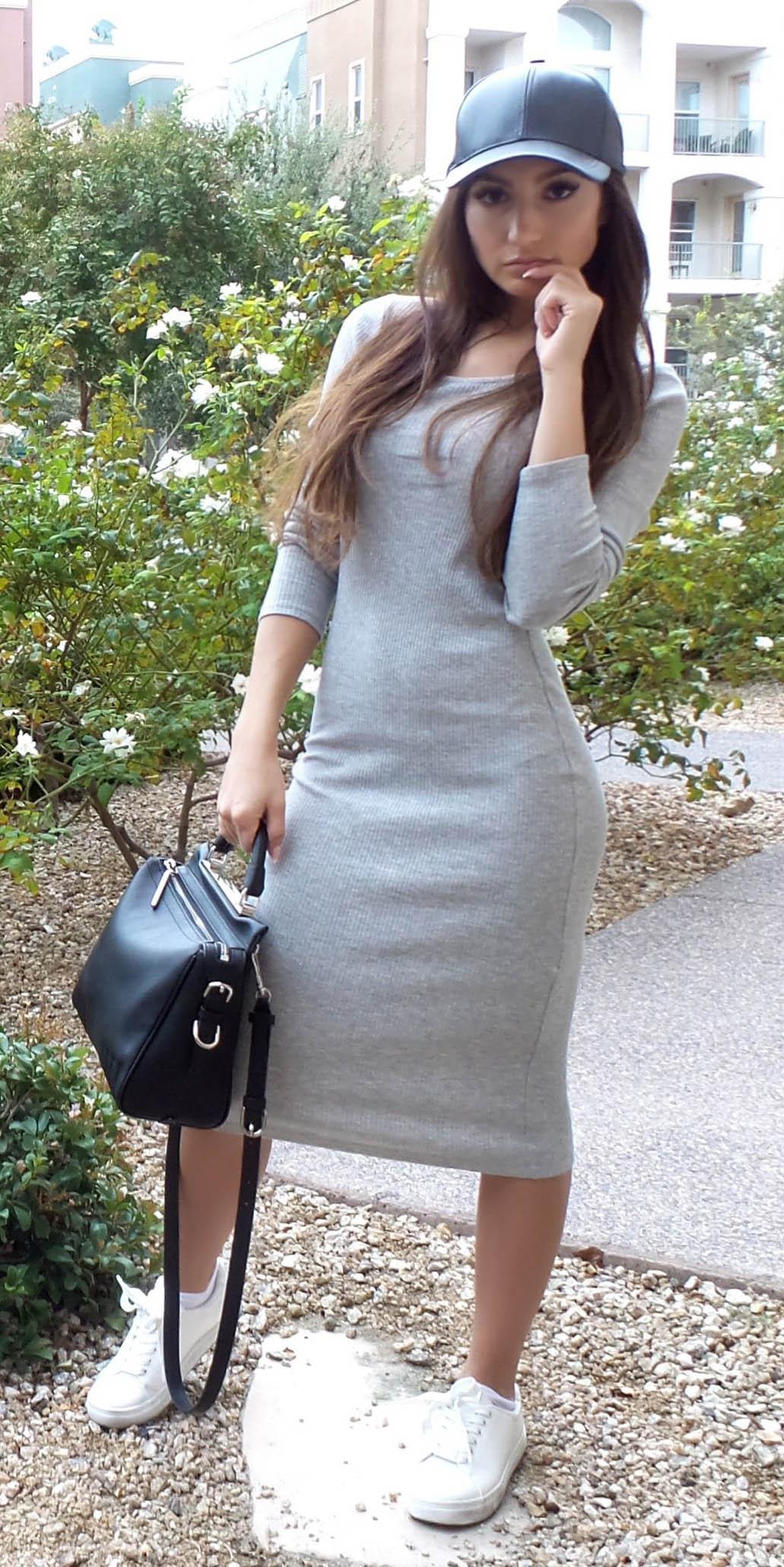 grayl-dress-bodycon-black-bag-white-shoe-sneakers-hat-cap-brun-fall-winter-weekend.jpg