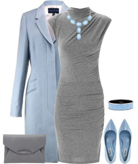 grayl-dress-bodycon-bib-necklace-blue-shoe-pumps-bracelet-gray-bag-blue-light-jacket-coat-fall-winter-lunch.jpg