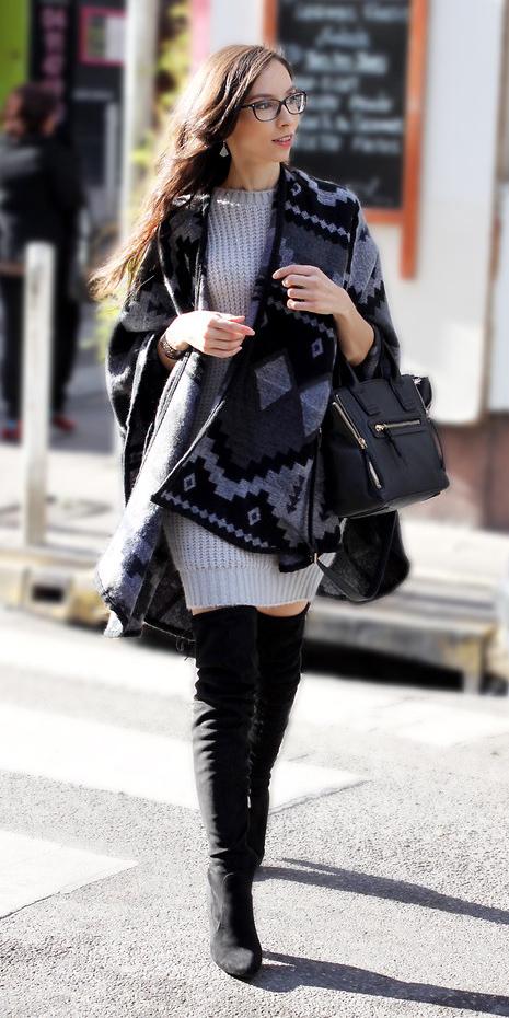 grayl-dress-bodycon-grayd-cardiganl-poncho-aztec-print-cape-sweater-black-shoe-boots-otk-black-bag-fall-winter-brun-lunch.jpg
