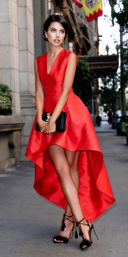 red dress with black shoes