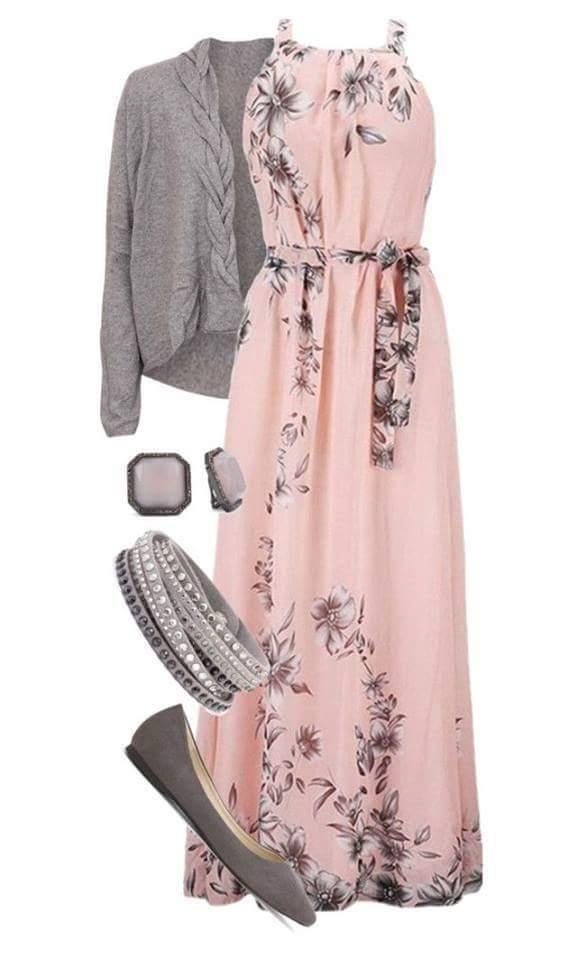 pink-light-dress-maxi-floral-print-grayl-cardigan-studs-bracelet-gray-shoe-flats-fall-winter-lunch.jpg