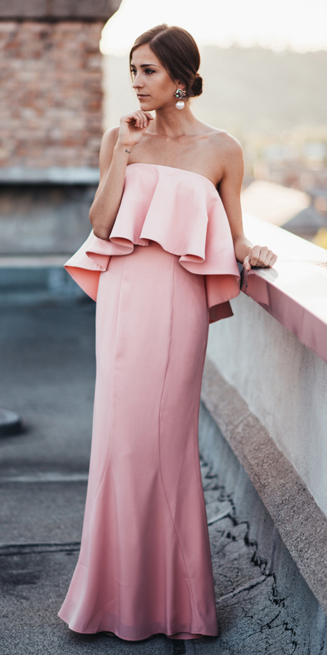 what-to-wear-for-a-winter-wedding-guest-outfit-pink-light-dress-strapless-maxi-gown-hairr-bun-pearl-earrings-dinner.jpg