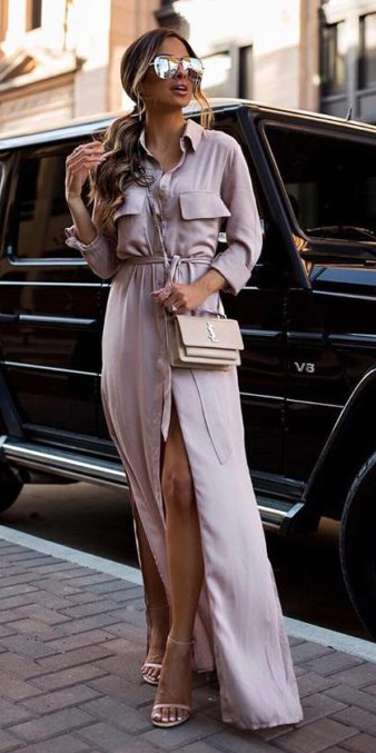 what-to-wear-for-a-spring-wedding-guest-outfit-pink-light-dress-shirt-maxi-tan-bag-mono-hairr-sun-pony-dinner.jpg