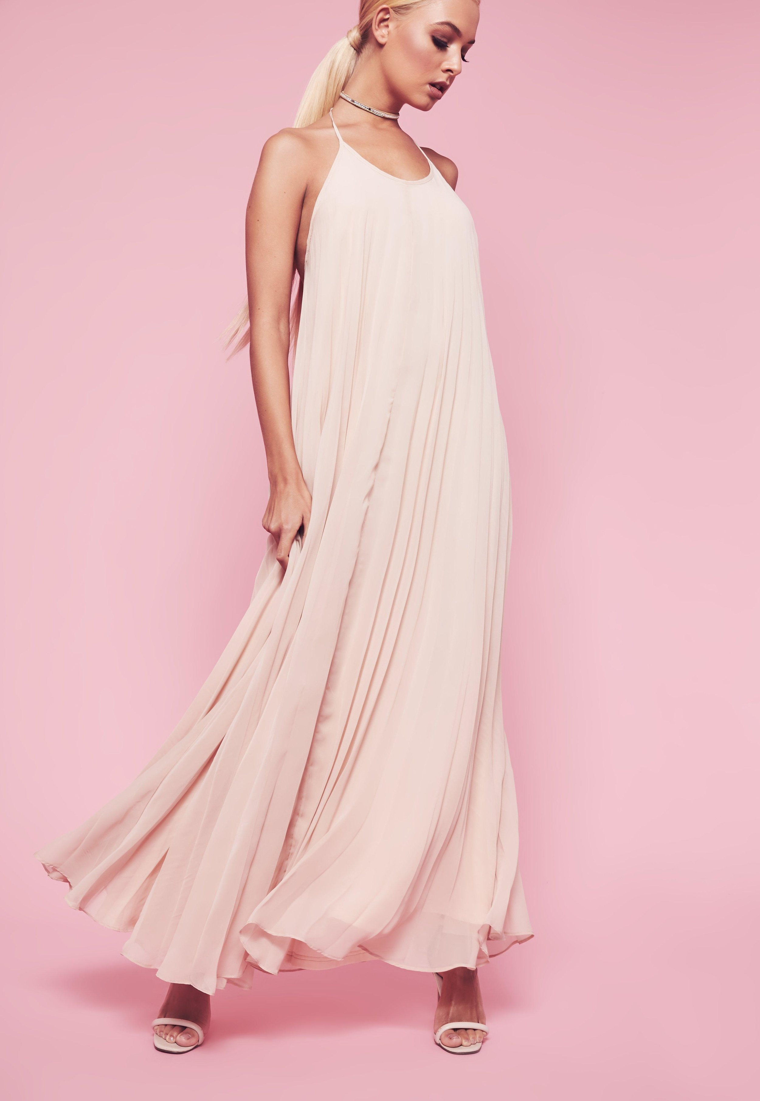 how-to-style-pink-light-dress-maxi-choker-necklace-blonde-pony-spring-summer-fashion-dinner.jpg