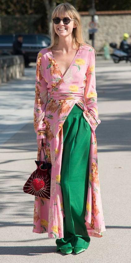 green-emerald-wideleg-pants-pink-light-dress-wrap-maxi-layer-blonde-sun-red-bag-green-shoe-booties-fall-winter-lunch.jpg