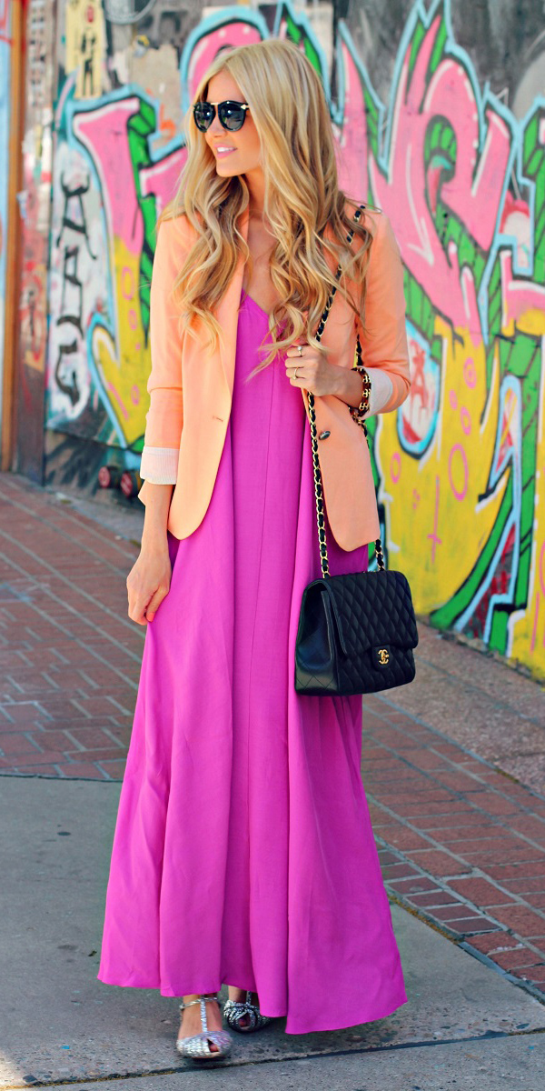 pink-magenta-dress-maxi-blonde-black-bag-peach-jacket-blazer-sun-fall-winter-lunch.jpg