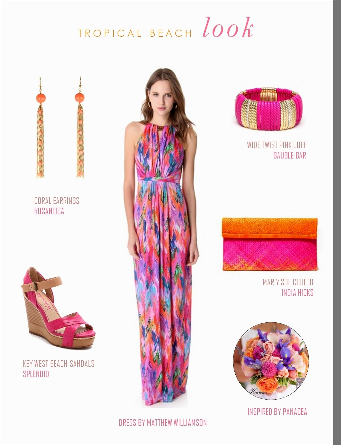 what-to-wear-for-a-summer-wedding-guest-outfit-pink-magenta-dress-maxi-print-magenta-shoe-sandalw-earrings-beach-pink-bag-clutch-bracelet-dinner.jpg