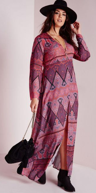 pink-magenta-dress-maxi-print-hat-black-shoe-booties-black-bag-fall-winter-brun-lunch.jpeg