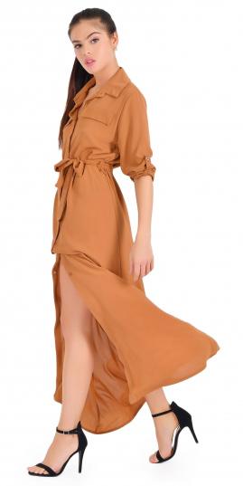 camel-dress-shirt-maxi-pony-hairr-black-shoe-sandalh-spring-summer-dinner.jpg