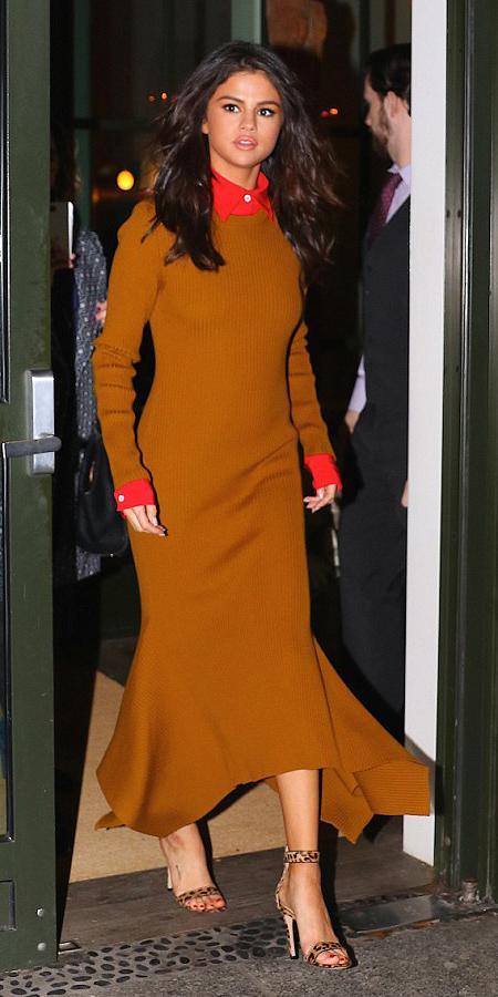 camel-dress-maxi-sweater-red-collared-shirt-tan-shoe-sandalh-leopard-print-layer-selenagomez-fall-winter-brun-dinner.jpg