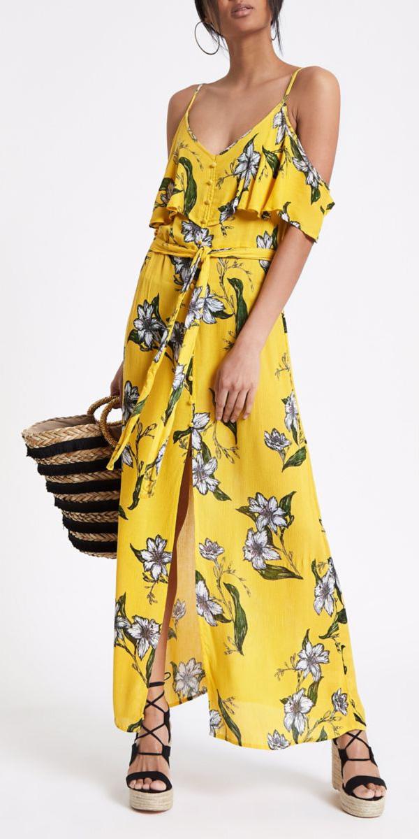 yellow-dress-maxi-floral-print-black-shoe-sandalw-hoops-brun-tan-bag-straw-spring-summer-lunch.jpg
