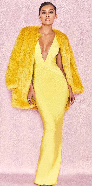 yellow-dress-maxi-yellow-jacket-coat-fur-mono-brun-bun-fall-winter-dinner.jpg