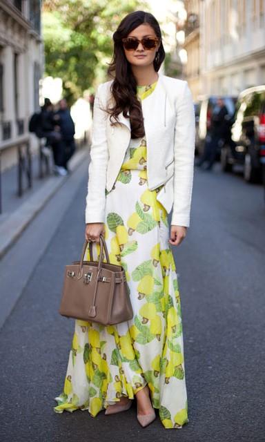 white-dress-maxi-print-white-jacket-moto-yellow-dress-floral-brun-sun-tan-shoe-pumps-tan-bag-fall-winter-lunch.jpg