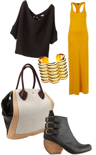 yellow-dress-black-sweater-bracelet-black-shoe-booties-maxi-white-bag-howtowear-fashion-style-outfit-fall-winter-lunch.jpg