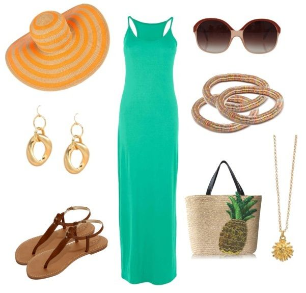 green-emerald-dress-brown-shoe-sandals-maxi-sun-bracelet-earrings-tan-bag-tote-necklace-pend-hat-straw-howtowear-fashion-style-outfit-spring-summer-beach-weekend.jpg