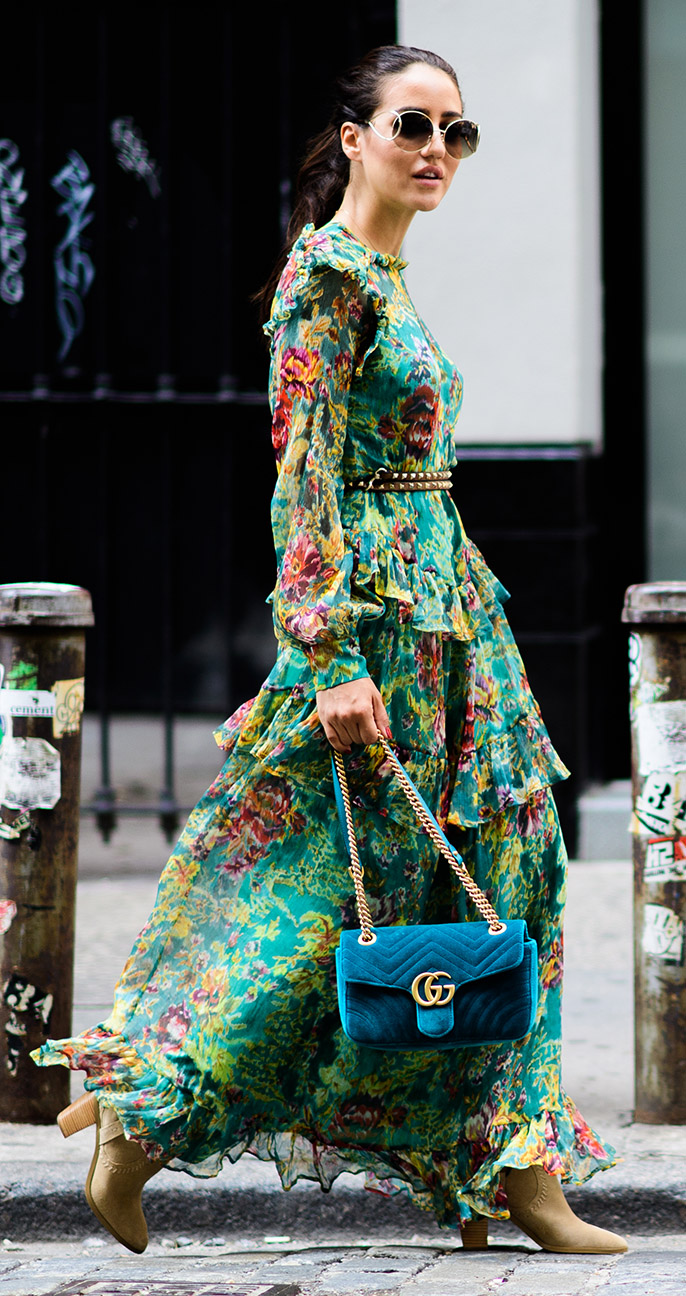 green-emerald-dress-peasant-maxi-floral-print-skinny-belt-blue-bag-hairr-pony-sun-tan-shoe-booties-fall-winter-lunch.jpg