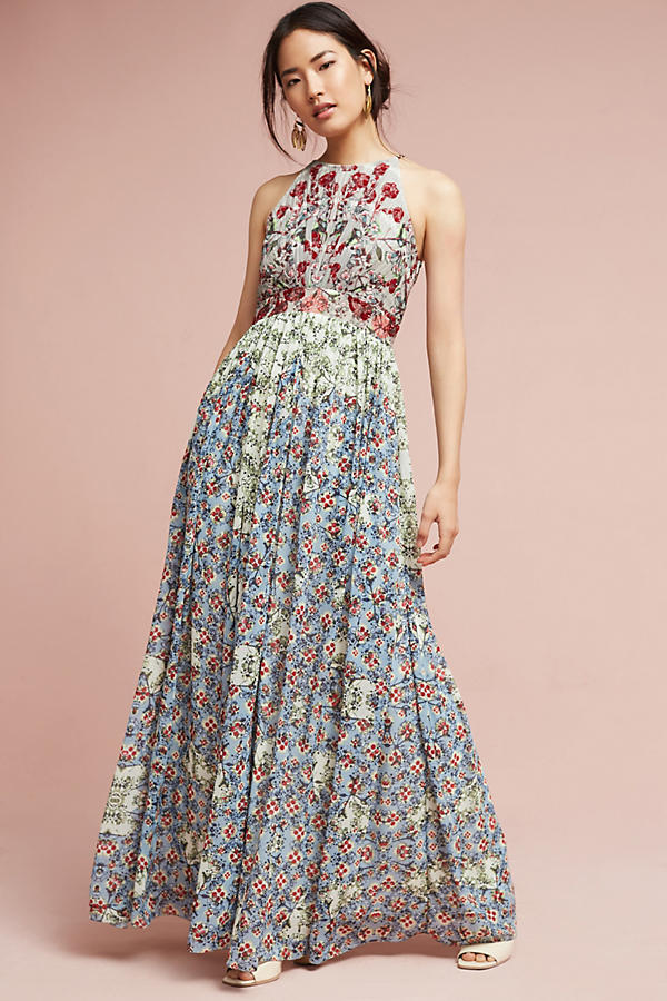 what-to-wear-for-a-spring-wedding-guest-outfit-blue-light-dress-maxi-print-floral-brun-bun-earrings-dinner.jpeg