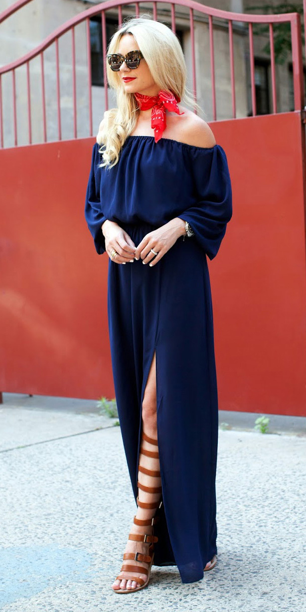 blue-navy-dress-maxi-red-scarf-neck-bandana-sun-blonde-offshoulder-cognac-shoe-sandals-gladiators-peasant-spring-summer-lunch.jpg