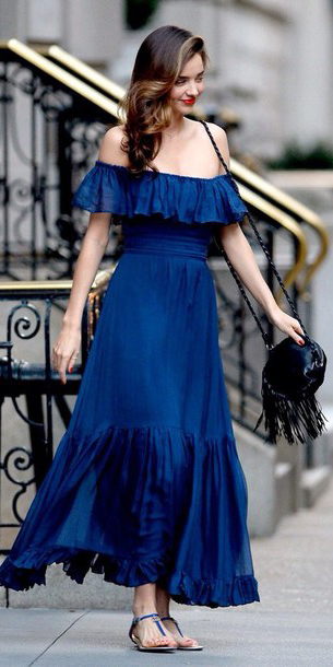 blue-navy-dress-black-bag-blue-shoe-sandals-offshoulder-maxi-wear-style-fashion-spring-summer-mirandakerr-celebrity-brunette-classic-lunch.jpg