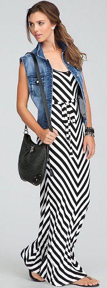 white-dress-maxi-stripe-blue-med-vest-jean-hairr-pony-black-bag-black-shoe-sandals-spring-summer-weekend.jpg