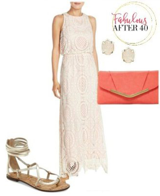 white-dress-maxi-lace-studs-orange-bag-clutch-tan-shoe-sandals-howtowear-fashion-style-outfit-spring-summer-lunch.jpg
