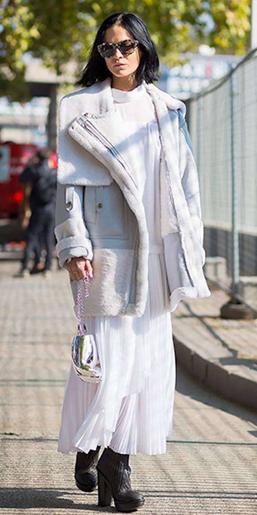 white-dress-maxi-white-jacket-coat-shearling-brun-bob-sun-black-shoe-booties-fall-winter-lunch.jpg