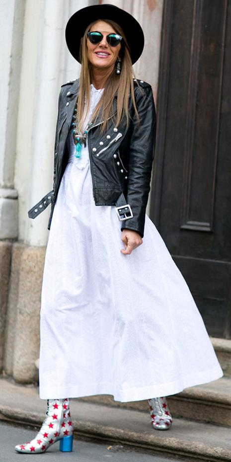 white-dress-black-jacket-moto-necklace-hairr-sun-hat-gray-shoe-booties-print-howtowear-fashion-maxi-fall-winter-lunch.jpg