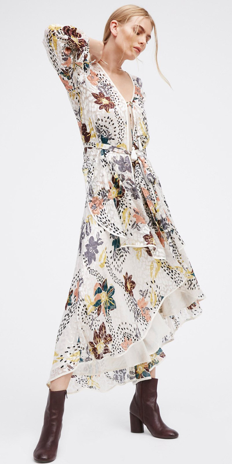 white-dress-maxi-floral-print-brown-shoe-booties-fall-winter-blonde-lunch.jpg