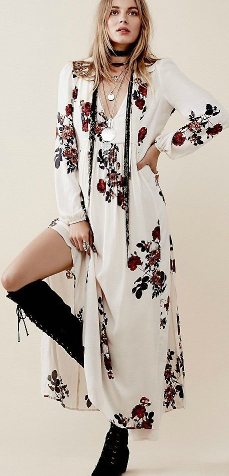 white-dress-peasant-floral-print-maxi-blonde-black-scarf-neck-black-shoe-boots-fall-winter-lunch.jpg