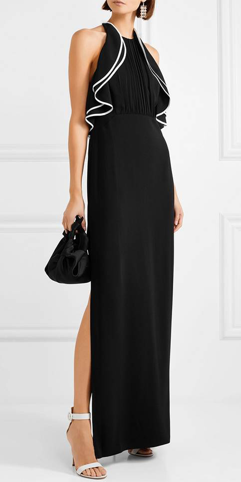 what-to-wear-for-a-fall-wedding-guest-outfit-autumn-black-tie-formal-black-dress-maxi-gown-white-shoe-sandalh-earrings-black-bag-dinner.jpg