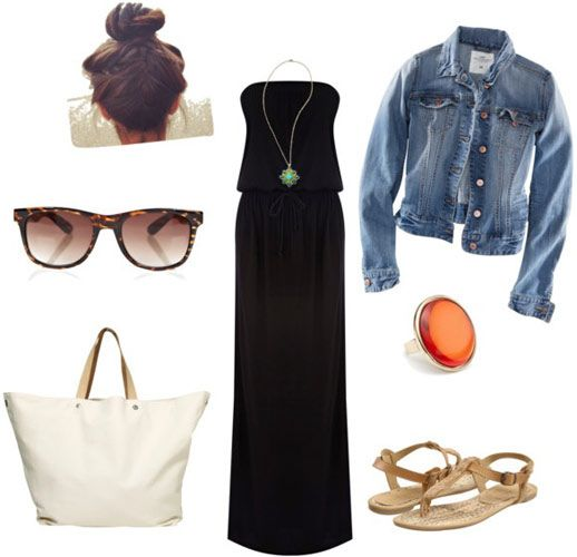 black-dress-blue-med-jacket-jean-white-bag-tote-sun-bun-tan-shoe-sandals-ring-necklace-pend-maxi-beach-howtowear-fashion-style-outfit-spring-summer-weekend.jpg