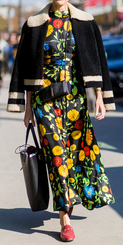 black-dress-zprint-floral-yellow-dress-black-jacket-shearling-black-bag-red-flats-loafers-howtowear-style-fashion-outfit-print-maxi-lunch.jpg