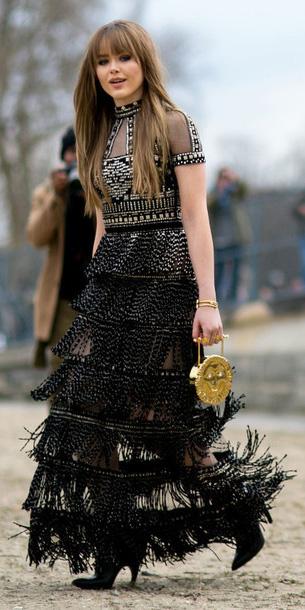 black-dress-maxi-tiered-sheer-black-shoe-booties-tan-bag-clutch-gold-fall-winter-blonde-dinner.jpg