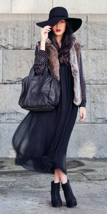 black-dress-peasant-maxi-hat-brown-vest-fur-black-bag-black-shoe-booties-fall-winter-brun-lunch.jpg