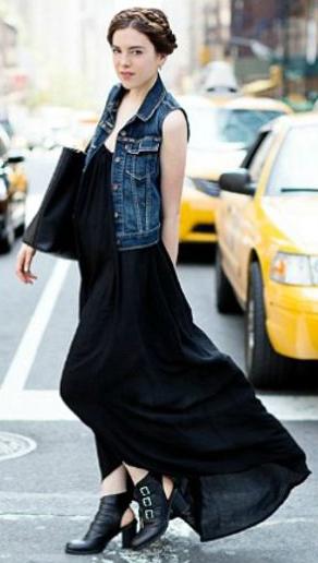 black-dress-maxi-black-shoe-booties-black-bag-tote-blue-med-vest-jean-wear-style-fashion-spring-summer-hairr-lunch.jpg