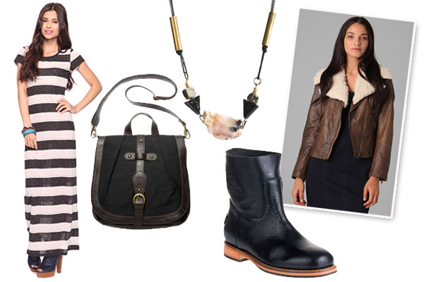 black-dress-zprint-stripe-brown-jacket-shearling-black-shoe-booties-black-bag-necklace-maxi-howtowear-fashion-style-outfit-fall-winter-lunch.jpg