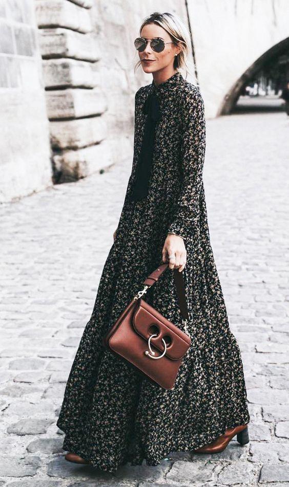 black-dress-peasant-maxi-blonde-sun-brown-bag-brown-shoe-bootsfall-winter-lunch.jpg