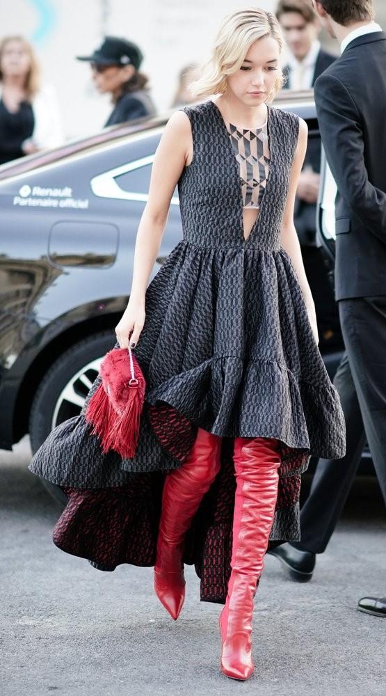 black-dress-maxi-aline-red-shoe-boots-otk-red-bag-blonde-fall-winter-dinner.jpg