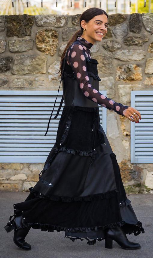 black-dress-maxi-layer-black-top-blouse-dot-print-pony-black-shoe-boots-fall-winter-brun-dinner.jpg