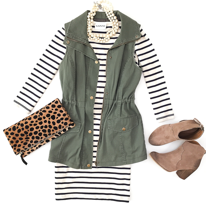 white-dress-stripe-bodycon-tshirt-pearl-necklace-tan-shoe-booties-cognac-bag-clutch-leopard-print-green-olive-vest-utility-fall-winter-lunch.jpg